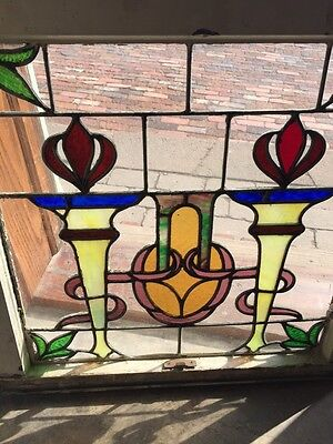 Sg 561 Antique Olympic Torches Stainglass Window Beautiful Colors 3