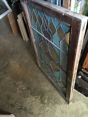 "Sg753 2 Available Price Separate Antique Stainglass Window 27.5 X 39 3/4"" 11"