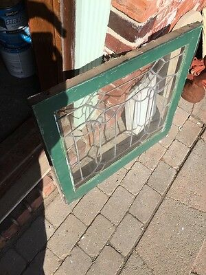 Sg 658 Antique Leaded Glass Window Floral Design
