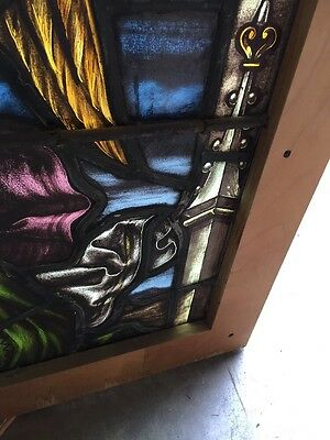 Sj 101 Antique Painted In Fired Heavenly Angel Window With Chalice 9