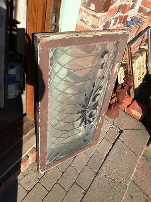 SG 445 Antique Transom Glass Window Hot Red Design 10
