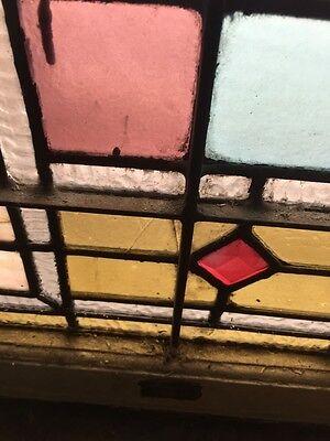 Sg 873 Antique Victorian Jeweled Landing Window 11