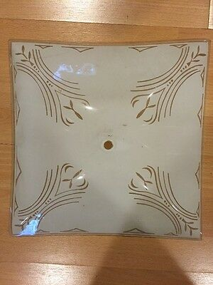 "Vintage Ceiling Light 12"" Square, Brass/Glass Retro Renovation 7"