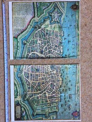 Old Antique Historic Map Antwerp, Belgium 1598 Braun & Hogenberg REPRINT 1500's 8