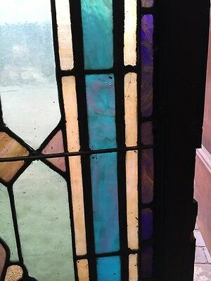 """Sg 403 Antique Stainglass Landing Window 27 In 0.125"""" X 44.5"""" Tall 8"""