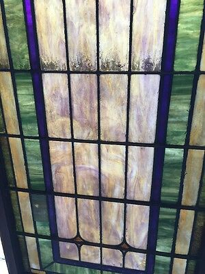 "Ca 5Antique Stained Glass Window 129"" X 32 And Three-Quarter Inches 4"