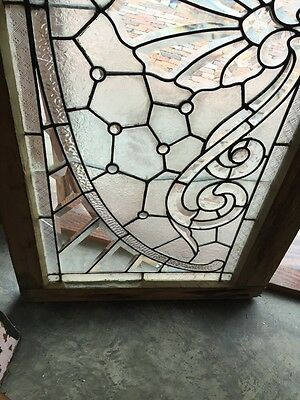 Sg 366 Amazing Arch Jeweled Beveled Glass Transom Window 4