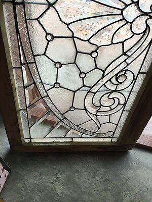Sg 366 Amazing Arch Jeweled Beveled Glass Transom Window 4