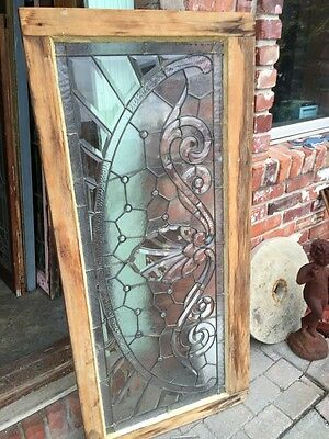 Sg 366 Amazing Arch Jeweled Beveled Glass Transom Window 8