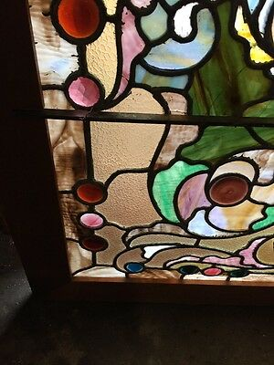 Rk 10 Antique Jeweled Landing Window Stained-Glass 35 X 49