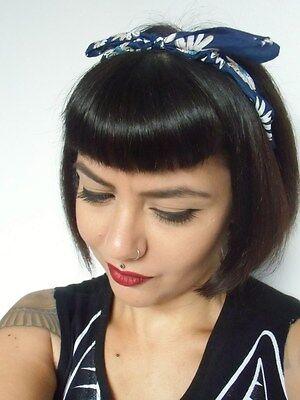 Serre Tete Fin Semi Rigide Tissu Bleu A Fleurs Coiffure Retro Pin Up Rockabilly Eur 11 41 Picclick Fr