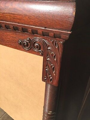 Bb3 Antique Spindle Carved Oak Fireplace Mantel Quartersawn 9