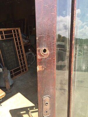 D 225 Antique Oak Painted Townhouse Entrance Door Beveled Glass 8