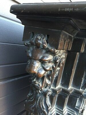 Magnificent Carved Oak Fireplace Mantle With For Lionhead's Amazing 2