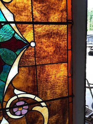 "Ca 11 Antique Stain Glass Window 36"" X 8' 9"