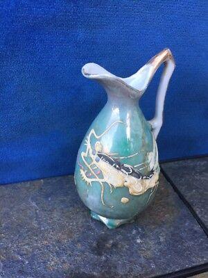 Antique JAPAN Japanese Kimono Komodo Dragon Turquoise Raised Art Pitcher Vase