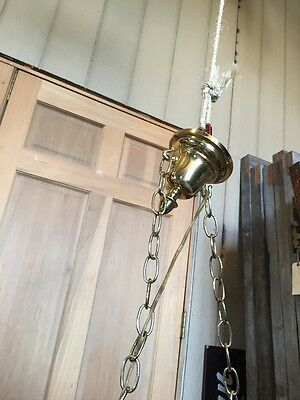 Lt 71 Fancy 2Arm Art Glass Refinished Chandelier Brass Antique Rewired 5
