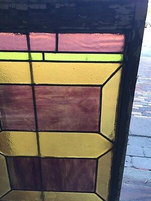 "Sg 283 Antique Stained Glass Geometric Window 21"" X 29"" 3"