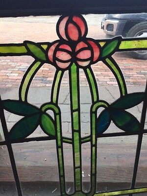 Sg 805 Antique Arts And Crafts Laurel Stainglass Window 3