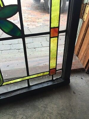 Sg 805 Antique Arts And Crafts Laurel Stainglass Window 5