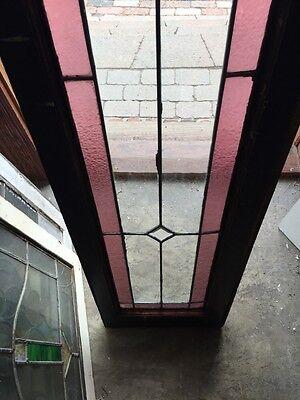 Sg 471 Antique Dual Jewel Transom Glass Window Beveled Center 5