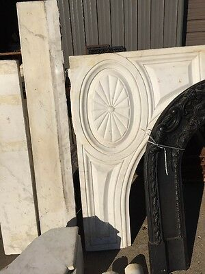 Antique White Marble Oversize Fireplace Mantle 4