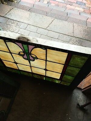 Sg 405 Antique Double Hung Landing Window Stainglass 9