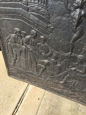 Antique Cast-Iron Figural Fire Back French 32 Inch Wide By 32 Inch High 5