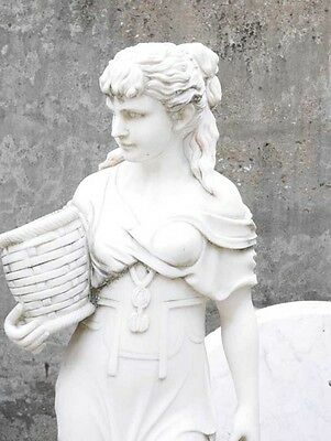 Hand Carved Italian Marble Maiden Female Statue 9