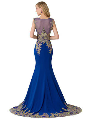 Long Evening Formal Party Dress Prom Ball Gown Bridesmaid Applique New 9