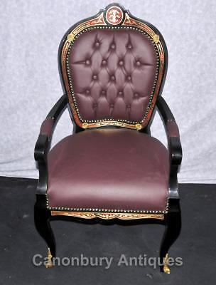 Pair French Boulle Arm Chairs Louis XV Fauteil Chair 2