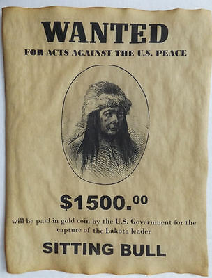 Set  of 6  Indian Wanted Posters Geronimo Cochise Crazy Horse Gall Sitting Bull 6