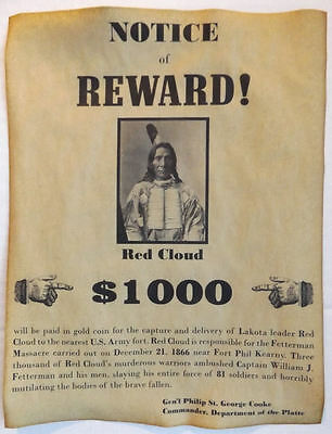 set of 6 indian wanted posters geronimo cochise crazy horse gall