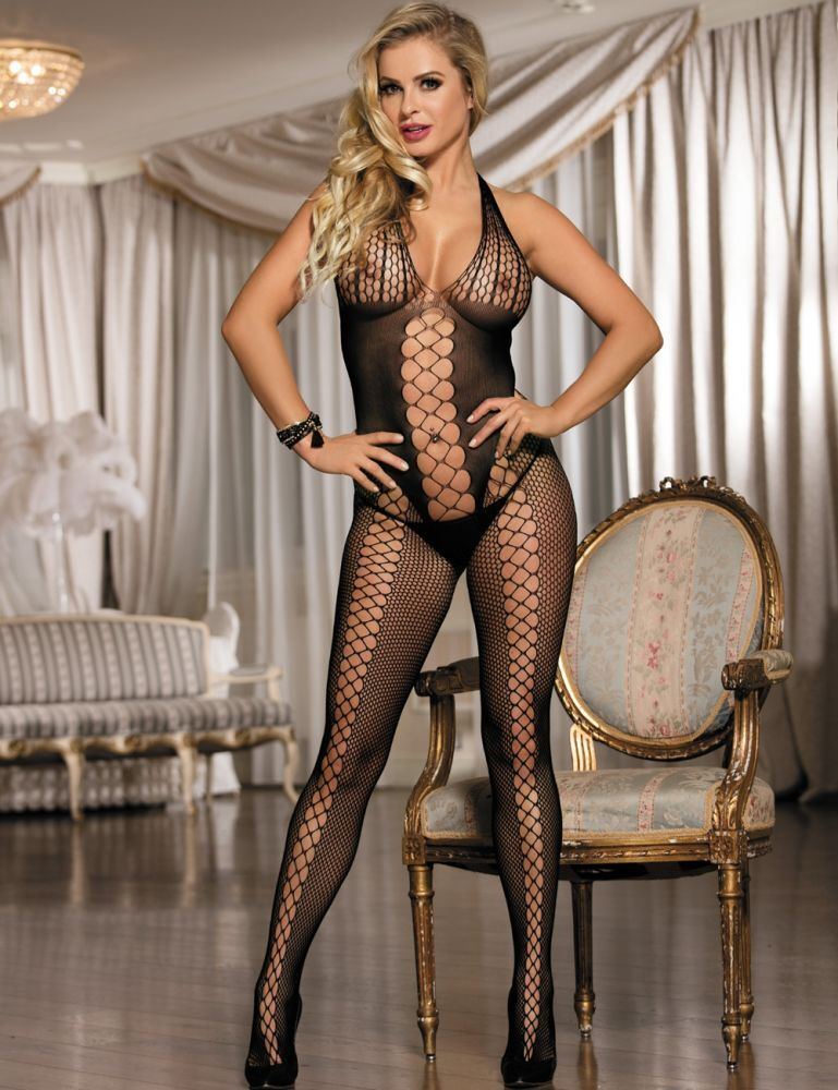 Damen Bodystocking Netz Catsuit Nylon Transparent Dessous Strapse Body S/M/L