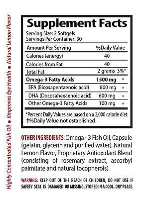 brain focus - OMEGA 8060 Fish Oil 1500mg - fish oil omega 3 - 2 Bottles 2