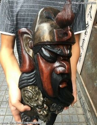 China Old Wood Carved Hand-Painted Dragon Guan Gong GuanYu Head Face Mask Statue 6