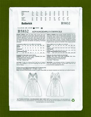 Historical Civil War Era Dress Sewing Pattern~Costume (6-14) Butterick 5832 3