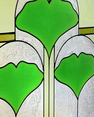 """Arts and Crafts Ginkgo Stained Glass Panel 35.5"""" x 9"""" - Hand Crafted in the USA 4"""