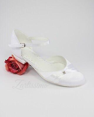 8b0950456d6767 ... Brautschuhe Ballerina flache Pumps Hochzeit WEISS IVORY 36