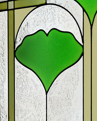 """Arts and Crafts Ginkgo Stained Glass Panel 35.5"""" x 9"""" - Hand Crafted in the USA 5"""