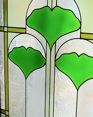 """Arts and Crafts Ginkgo Stained Glass Panel 35.5"""" x 9"""" - Hand Crafted in the USA 2"""