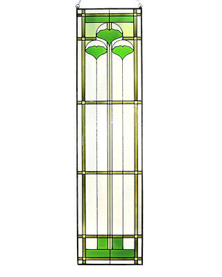 """Arts and Crafts Ginkgo Stained Glass Panel 35.5"""" x 9"""" - Hand Crafted in the USA 3"""