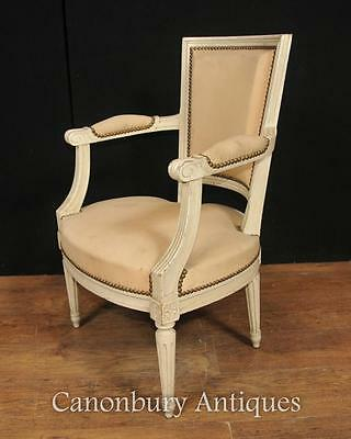 Pair French Neo Classical Arm Chairs Fauteuil Painted Chair 4