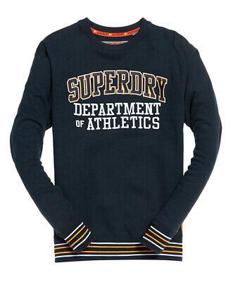 Superdry International Logo Overhead Sweat Crew Neck Sweatshirt Top Black