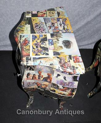 Pair Art Deco Comic Print Chests Drawers Bedside Table Nightstands 9