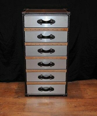 Industrial Leather Chrome Chest Drawers Tall Boy Luggage Furniture 3