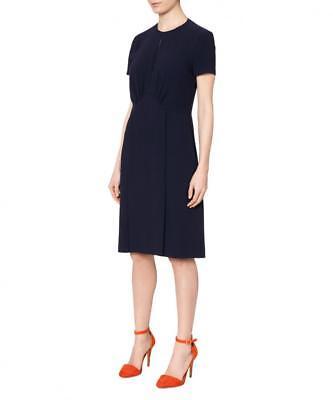 Joseph Crepe Dress Cleo Dark Blue Sz 14uk