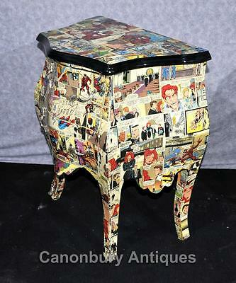 Pair Chest Drawers Comic Print Bedside Chests Tables Nightstands 6
