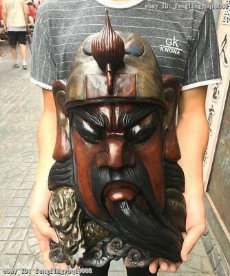 China Old Wood Carved Hand-Painted Dragon Guan Gong GuanYu Head Face Mask Statue 2