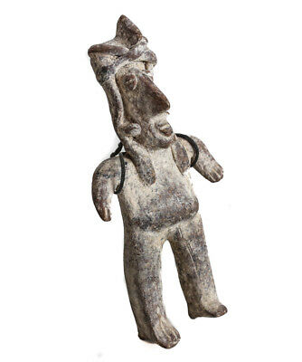Pre Columbian JALISCO Mexico Standing male slab figure, dark redish brown ground 2
